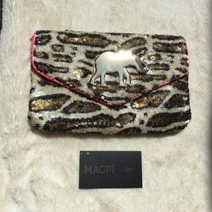 Deux Lux Sequined Leopard Golden Elephant Clutch